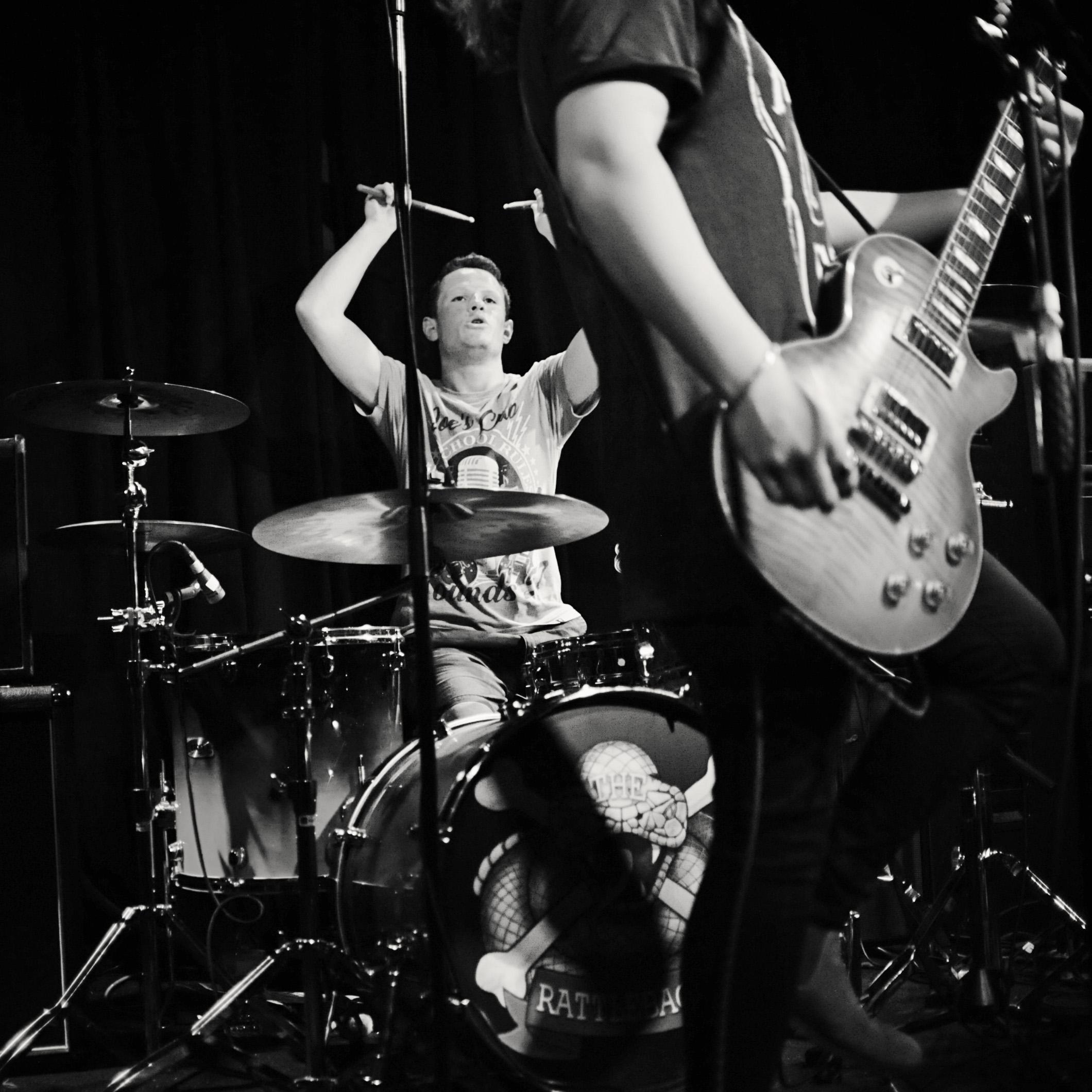 Joe Donegan Drumming Live B+W